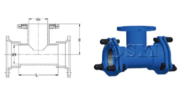 MJ-Double-Socket-Tee-with-Loosing-Flanged-Branch