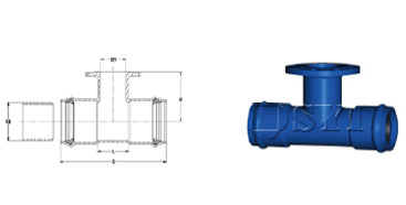 PVC-Double-Socket-Tee-with-Flanged-Branch